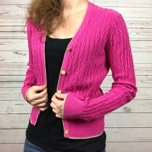 Brooks Brothers Pink Cable Knit Cardigan - U1